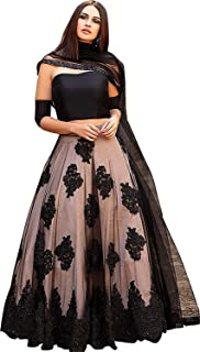 8f6f2b6d4c Zaalima Fashion Women's Heavy Net Embroidered Semi Stitched Lehenga Choli  (Free Size_Black)