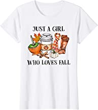 Womens Just A Girl Who Loves Fall Pumpin Spice Latte Autumn T-Shirt