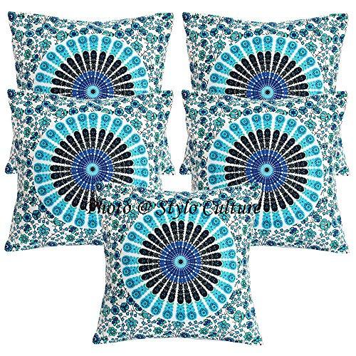 Stylo Culture Cojines decorativos étnicos para la cama Azul Impreso Pavo real Eye Cojín Fundas de almohada 16 x 16 Cuadrado de algodón tradicional Mandala Cojines de 40x40 cm Cojín (Juego de 5 piezas)