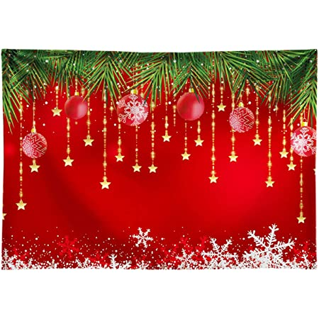 Allenjoy 7x5ft Red Christmas Backdrop Sparkling Stars Christmas Backdrops for Photography Glittering Stars Kids Christmas Backdrop for Pictures New Year Backdrop for Party Decorations