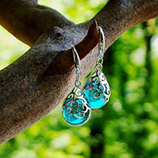 Recycled Vintage Mason Jar Glass and Sterling Silver Filigree Teardrop Earrings