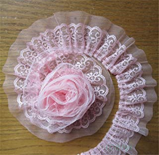 5 Yard 2-Layer Quality Pleated Organza Lace Edge Gathered Trim Ribbon 6 cm Width Vintage White Edging Trimmings Fabric Embroidered Applique Sewing Craft Wedding Dress DIY Decor Clothes Embellishment