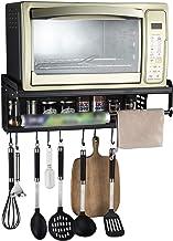 Mikrowellenhalterung, Mikrowellen Regal Mit 10 Haken Und 2 Ablagen, Microwellenhalter Wand Befestigung, Mikrowelle Halterung Schwarz