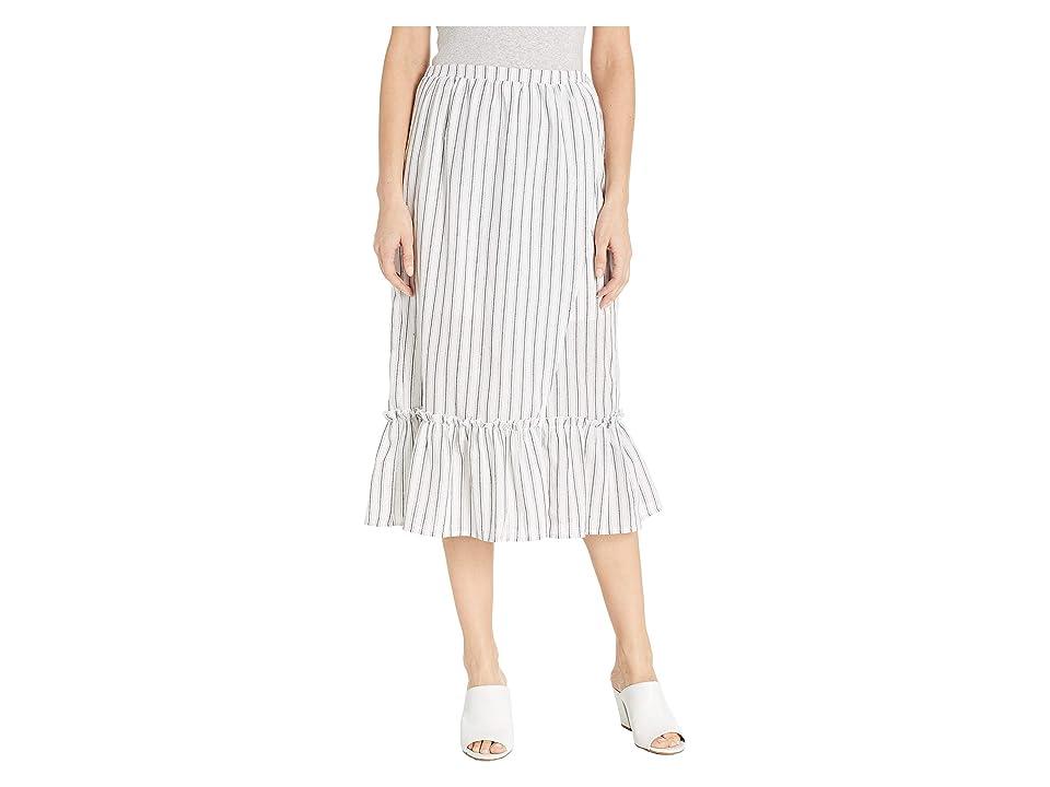 MINKPINK Baja Faux Wrap Midi Skirt (White/Black) Women