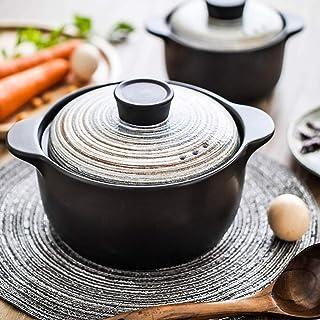 ZZFF Japonés Casserole De Cerámica con Tapa,Mano-Pintado Slow Stew Pot,Calor-Resistente Cazuela,Olla De Sopa,Donabe Hot Pot,Clay Pot,Utensilios De Cocina De Estufa A 1l