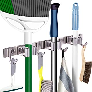 Mop Broom Holder Heavy Duty Hooks Hanger Wall Mounted 17� Stainless Steel Organizer for Home Laundry Bathroom Kitchen Garage Garden Utility Tools Rack Storage Durable