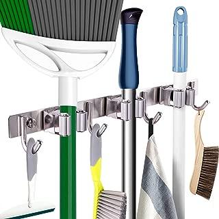 "Mop Broom Holder Heavy Duty Hooks Hanger Wall Mounted 15"" Stainless Steel Organizer for Lanudry Bathroom Kitchen Garage Tools Rack Storage Durable"