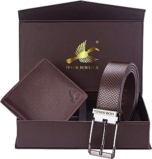 Hornbull Gift Set for Men's - Brown Wallet and Brown Belt Men's Combo Gift Set 69117