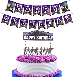 Awyjcas Video Game Party Favors Birthday Banner Party Supplies Baby Boy Birthday Cake Kids Battle Royale Gamer Party Decoration