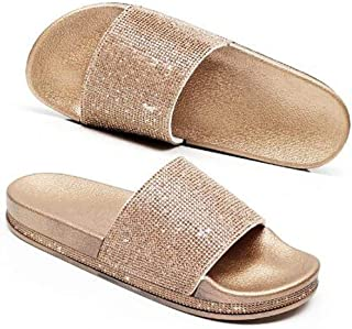 Freeou Brillo de la Manera Verano de Las Mujeres Zapatillas Sole Diapositivas Zapatos de Las Mujeres del Diamante cristalino de Bling Sandalias de Playa Diapositivas