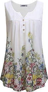 MOQIVGI Women's Sleeveless V Neck Zip Casual Summer T Shirt Blouse Tops with Chest Pocket