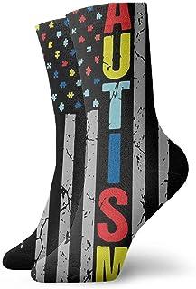 AEMAPE, Puzzle Piece Bandera estadounidense Calcetines cortos de tripulación Calcetines de vestir Calcetines deportivos para hombres y mujeres