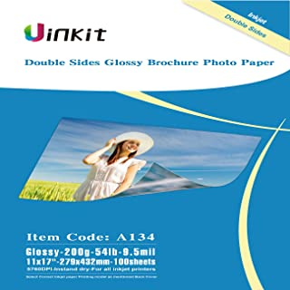 Uinkit Cardstock Double Sided Glossy Photo Paper 100 Sheets 11x17 Inches 9.5Mil 200g for Inkjet Printing Only