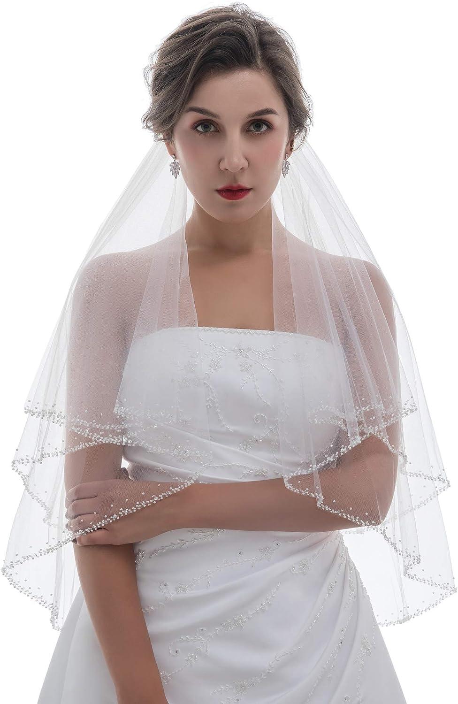 2T 2 Tier Pearl Bugle Beaded Wedding Veil