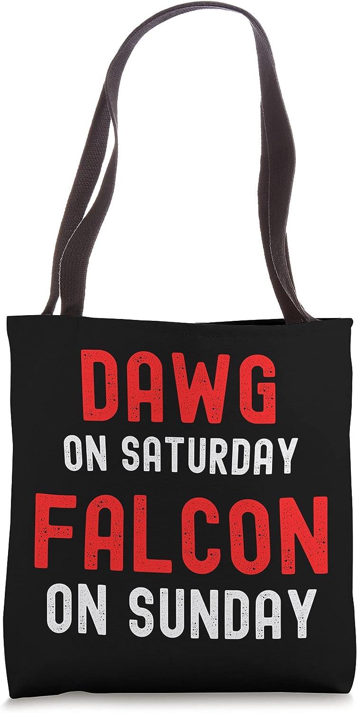 Dawg On Saturday Falcon On Sunday - Atlanta - Distressed Tote Bag