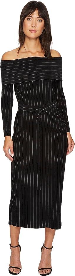 KAMALIKULTURE by Norma Kamali - Off Shoulder Straight Dress with Mid Belt