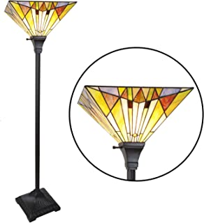 VINLUZ Tiffany Style Torchiere Floor Lamp Mission 1-Light Multi-Colored 14-inch Stained Glass Shade Up Light, 62-inch Tall Pole Modern Standing Lamp for Living Room Bedroom Office