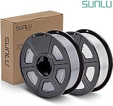 SUNLU PLA Plus Filament 1.75mm 3D Printer 3D Pens 2KG PLA+ Filament +/- 0.02 mm, White+Silver