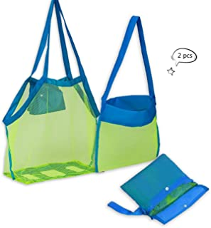 Beach Mesh Tote Bag 2PCS Large Foldable Sand Away Children Beach Toys Organizer Storage Bags