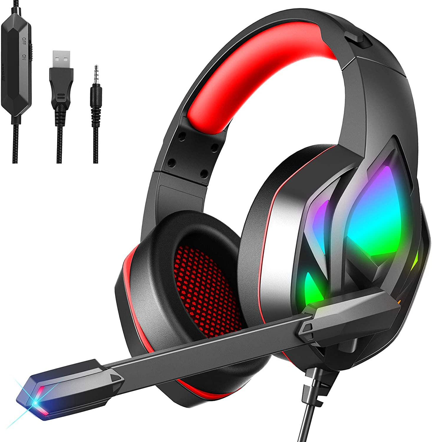 MuGo Gaming Headset for PC Xbox One, Over Ear Headphones with Color Changing LED Light, Gaming Headphones for PS4 PS5 Laptop Mac, Stereo Mic Surround Sound, 3.5mm Audio Jack, Foam Ear Pads, Black/Red: Electronics