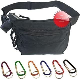 Explorer Mens Black Gun Pistol Pouch Carry Concealment Concealed Large Tactical Fanny Pack with Key Ring Carabiner