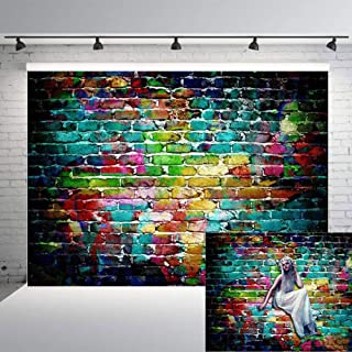 Art Studio 7x5ft Graffiti Photography Backdrops Colorful Brick Wall Photo Background Adults Children Portrait Studio Props Birthday Party Decor Supplies Vinyl