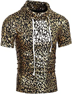 Men Short-Sleeve Silm Fit Floral Print Turtle Neck Gilded Tees