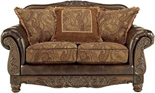 Ashley Furniture Signature Design - Fresco Loveseat with 3 Pillows - Ornate Frame - Grand Elegance - Antique Brown