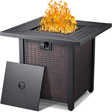 Propane Fire Pit Table,50,000 BTU Square Gas Firepits ETL Certification Rattan & Wicker-Look Surface Steel Square Fire Ta