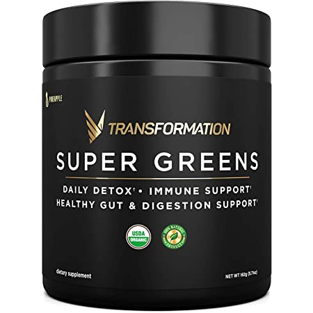 Organic Super Greens Superfood Powder - Immune & Energy Support | Made with Natural Ingredients | Detoxifying & Alkalizing Minerals - Spirulina, Chlorella, Wheatgrass, Spinach, Alfalfa & More