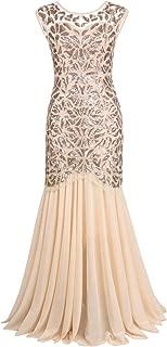 Women's 1920s Evening Dress Formal Beaded Sequin Maxi Long Flapper Prom Ball Gown