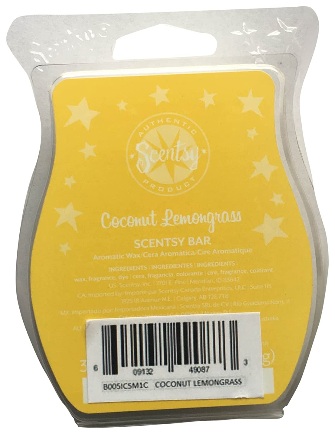 Scentsy Coconut Lemongrass Bar Wickless Candle Tart Warmer Wax, 3.2 fl. oz.