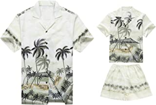 Made in Hawaii Matching Father Son Shirts Cabana Set in Palm Border Green