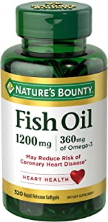 Nature's Bounty Omega-3 Fish Oil, Heart Health, 1200 mg, 320 Rapid Release Softgels
