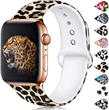 Haveda Floral Bands Compatible with Apple 4 Watch 44mm Series 4 Series 5, Comfortable Pattern iWatch 42mm Bands Womens Series 3 Series 2/1, Printed Silicone Sport Wristbands for Men Kids M/L Leopard