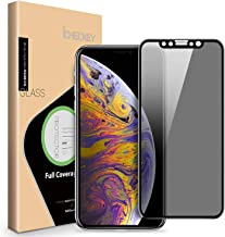 ICHECKEY iPhone Xs Max/iPhone 11 Pro Max Privacy Screen Protector, 4D Curved Anti Spy Anti-Scratch Case Friendly Full Coverage Tempered Glass Screen for Apple iPhone Xs Max/11 Pro Max 2019 6.5 Inch