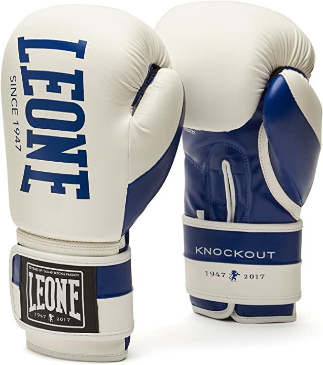 Guantoni boxe - leone 1947 knockout guantoni boxe, esclusiva amazon, unisex – adulto, bianco, 10oz