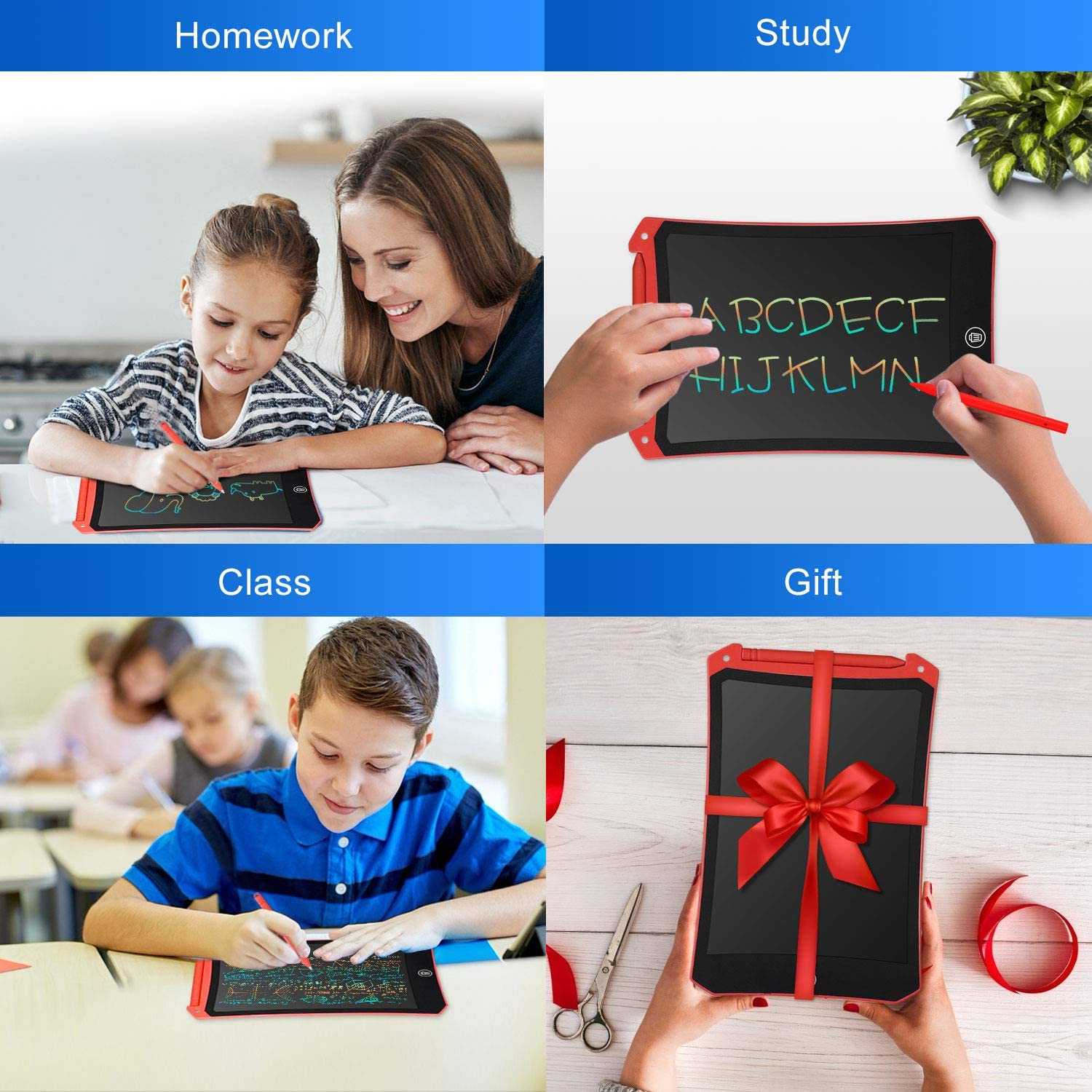 Cimetech 12-Inch Handwriting Paper Drawing Tablet Gift for Kids and Adults at Home,School and Office Newest LCD Writing Tablet Electronic Digital Writing /&Colorful Screen Doodle Board Pink