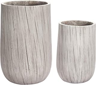 Tall Planter Set 2 Pack Flower Pot, Cylinder Indoor Outdoor White Grain 13'' & 17'' with Drainage