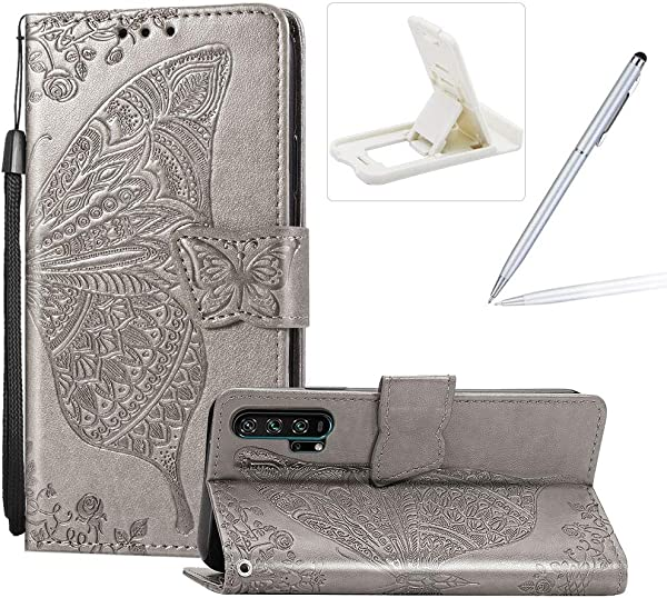 Strap Leather Case For Huawei Honor 20 Pro Wallet Cover For Huawei Honor 20 Pro Herzzer Classic 3D Grey Butterfly Flower Print Relief Magnetic Stand Case With Soft TPU