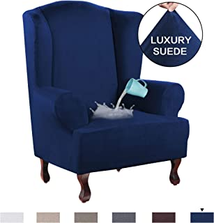 H.VERSAILTEX 1 Piece Sofa Cover Luxurious Suede Fabric Super Stretch Stylish Furniture Slipcover Velvet Plush Wing Back Armchair Slipcover Skid Resistance Water Repellent(Wing Chair, Navy