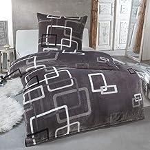 MALIKA Kuschelige Winter Plüsch Bettwäsche Cashmere-Touch Coral Fleece mit Kissenbezug 80x80 wärmer als Biber oder Flanell, Größe:135x200  80x80, Design - Motiv:Design 3