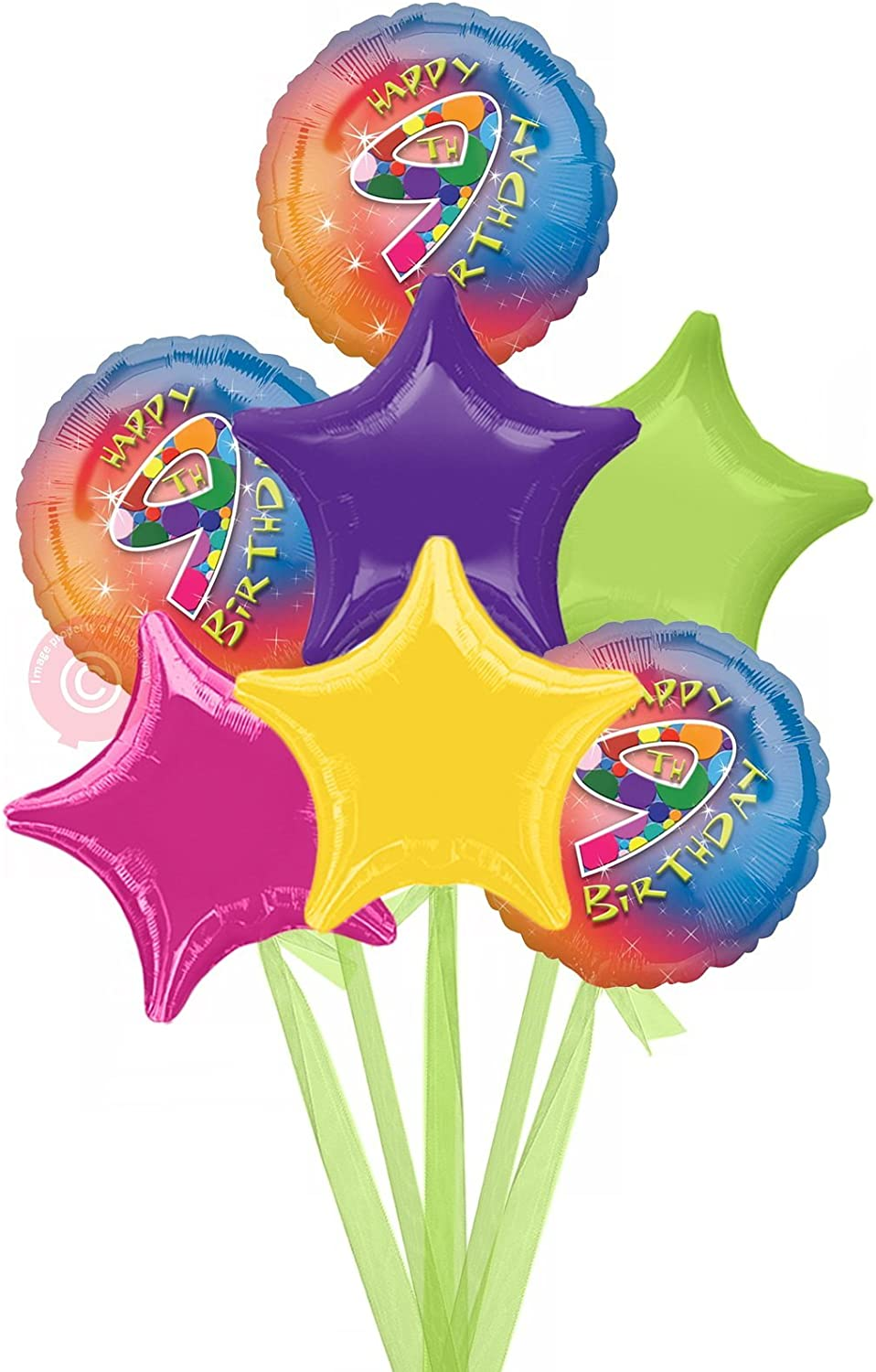 No 9 Happy 9th Birthday Girl  Inflated Birthday Helium Balloon Delivered in a Box  Bigger Bouquet  7 Balloons  Bloonaway