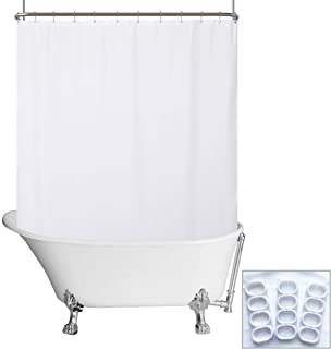 N&Y HOME Waterproof Fabric Clawfoot Tub Shower Curtain 180 x 70 inch All Wrap Around, 36 Hooks Included, Breathable Fabric, Machine Washable, White, 180x70