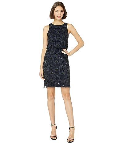 Adrianna Papell Beaded Mesh Cocktail Dress (Navy/Black) Women