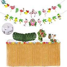 ResPai Falda de Mesa Luau Hawaiana, Tropical Hawaiian Luau Hibiscus Grass Mantel Falda Faldones de Mesa Flores Tropicales Hojas de Palma Pancartas Tropical Tiki Beach Jardín Decoración de Fiesta