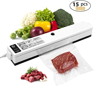 Vacuum Sealer, Etrigger Automatic Vacuum Sealing Machine for Both Dried and Wet Fresh Food, Suitable for Camping and Home Use with 15pcs Vacuum Sealer Bags(20 × 25cm)