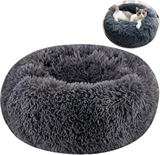 TINTON LIFE Luxury Faux Fur Pet Bed for Cats Small Dogs Round Donut Cuddler Oval Plush Cozy Self-Warming Cat Bed for Improved Sleep
