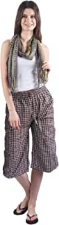 Gemmy Days (16185GHBR Womens Poly Cotton Capri Casual wear Brown Checks. Please Check Size spec.