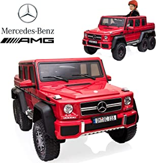 Mercedes Benz AMG Kids Ride On Car with Remote Control four drive vehicle with Two 12V Power, Stroller Function, Openable Doors, Spring Suspension, USB MP3 Player & Bluetooth Function LED Lights (Red)
